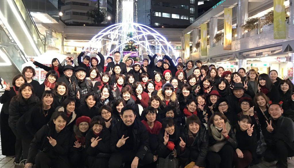 フェイスゴスペルが京橋コムズガーデンクリスマスゴスペルイベントに出た際の集合写真