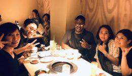 アメリカ人講師Vinent Bohananが来日し、大阪で一緒に焼肉を食べた時の写真