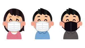 新型コロナウイルス対策のマスク姿人物イラスト